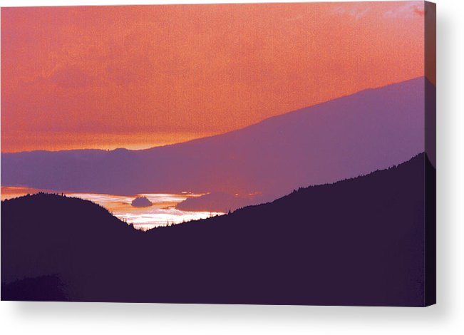 Mountains Acrylic Print featuring the photograph Back Lit Mountains And Ocean 22 by Lyle Crump
