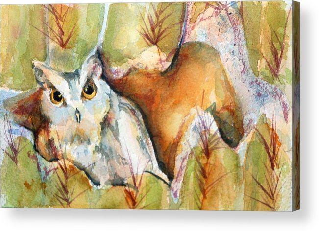 Watercolor Acrylic Print featuring the painting Cactus Owl by Donna Pierce-Clark