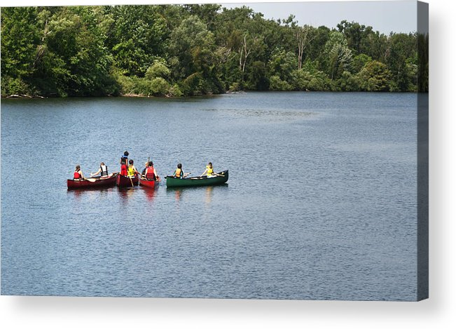 Canoe Acrylic Print featuring the photograph Canoes On Lake by Blink Images