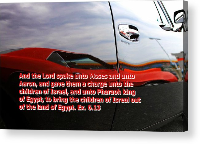 Cars Acrylic Print featuring the photograph Car Reflection With Text 4 by Karl Rose