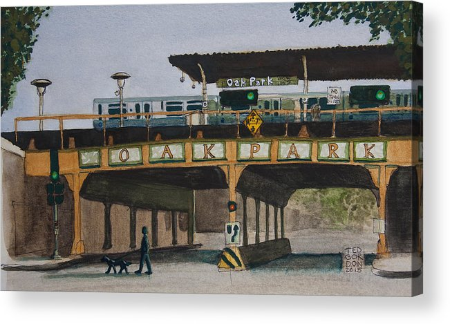 El Train Acrylic Print featuring the painting Dogs And Trains In The Village by Ted Gordon