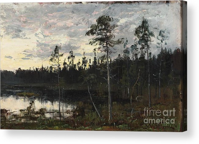 Charlotte Wahlstr�m (1849-1924) (se) Evening Twilight Acrylic Print featuring the painting Evening Twilight by Celestial Images