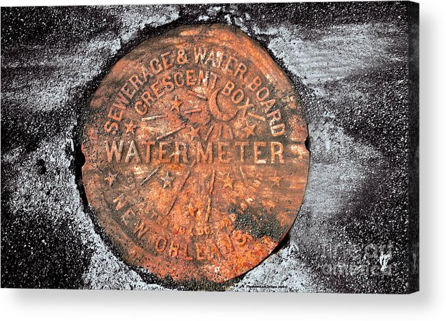 Acrylic Print featuring the photograph New Orleans Water Meter Cover 9 Months After Katrina by Pringle Teetor