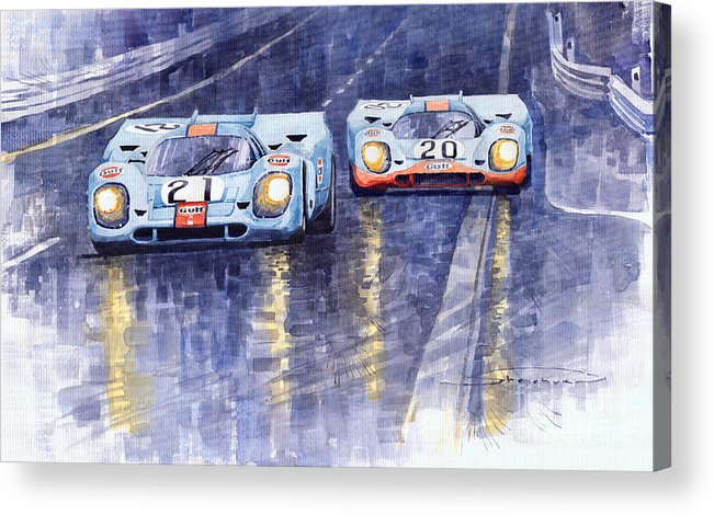 Watercolour Acrylic Print featuring the painting Gulf-porsche 917 K Spa Francorchamps 1970 by Yuriy Shevchuk