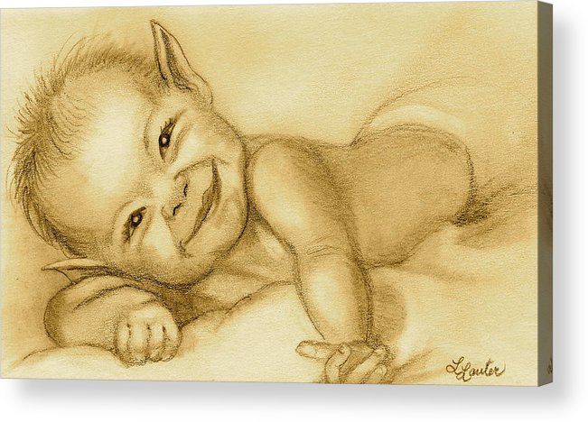 Baby Elf Acrylic Print featuring the drawing Imp by L Lauter