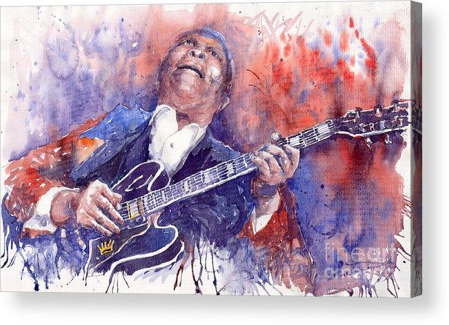 Jazz Acrylic Print featuring the painting Jazz B B King 05 Red by Yuriy Shevchuk