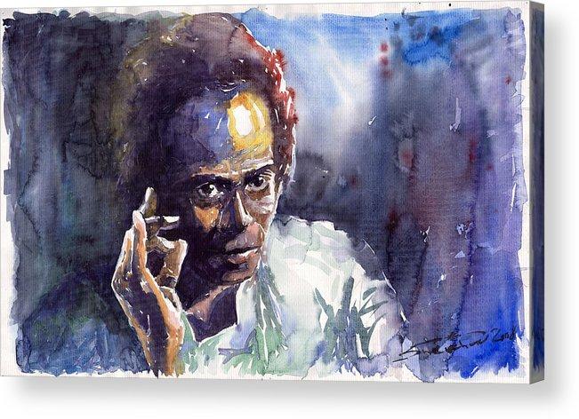 Jazz Watercolor Watercolour Miles Davis Portret Acrylic Print featuring the painting Jazz Miles Davis 11 by Yuriy Shevchuk