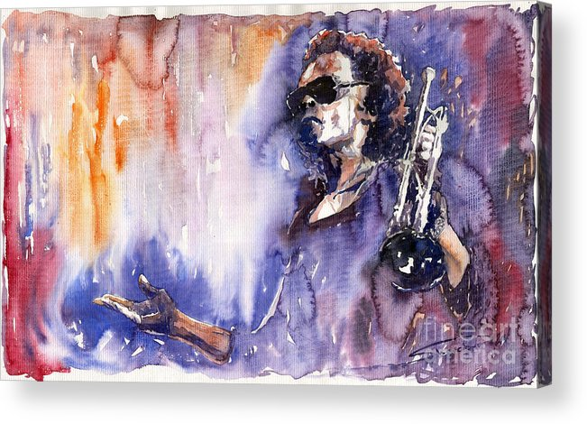 Jazz Acrylic Print featuring the painting Jazz Miles Davis 14 by Yuriy Shevchuk
