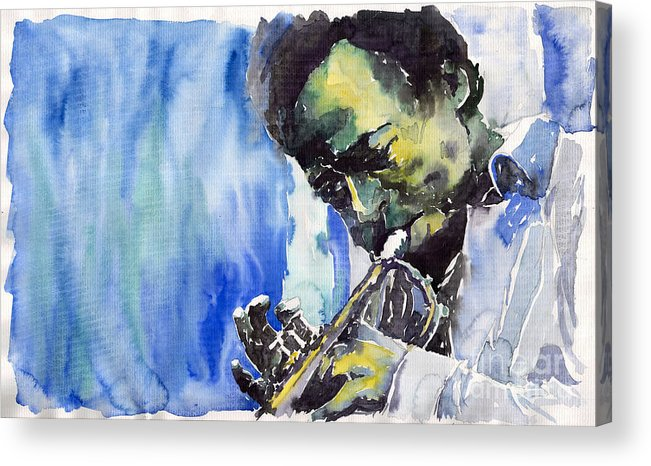 Acrylic Print featuring the painting Jazz Miles Davis 5 by Yuriy Shevchuk
