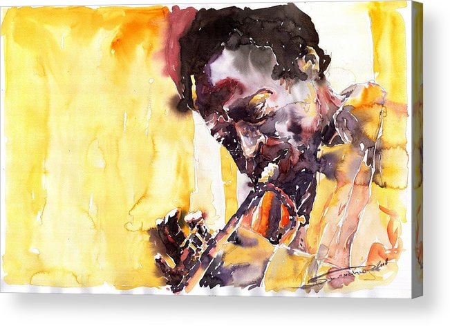 Jazz Music Watercolor Watercolour Miles Davis Trumpeter Portret Acrylic Print featuring the painting Jazz Miles Davis 6 by Yuriy Shevchuk