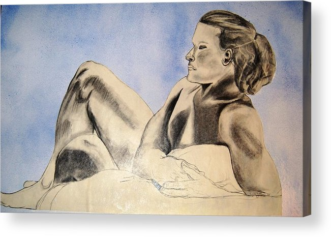 Pencil Acrylic Print featuring the mixed media Man In Recline by Angela Murray