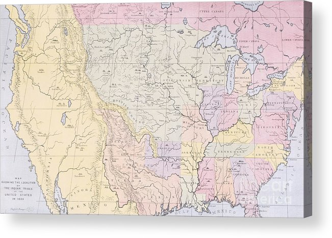 Map Acrylic Print featuring the painting Map Showing The Localities Of The Indian Tribes Of The Us In 1833 by Thomas L McKenney and James Hall