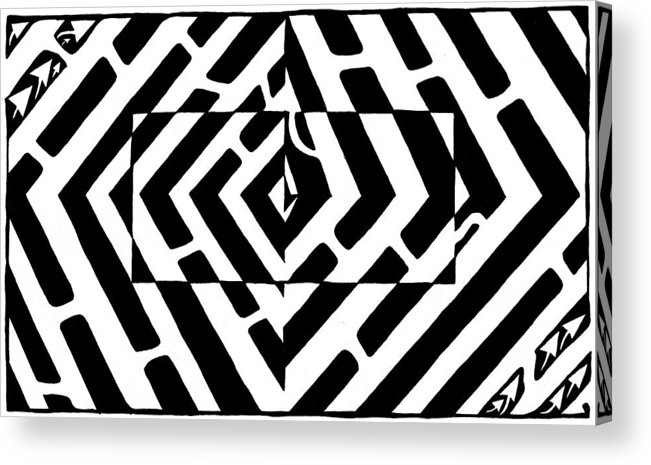 Optical Illusion Acrylic Print featuring the drawing Optical Illusion Maze Of Floating Box by Yonatan Frimer Maze Artist