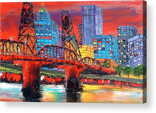 Acrylic Print featuring the painting Portland City Lights Over The Hawthorne Bridge by Portland Art Creations
