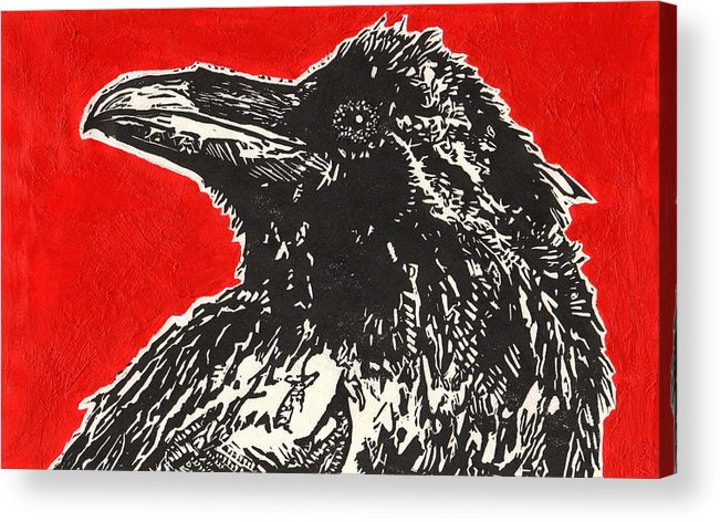 Linocut Acrylic Print featuring the painting Red Hot Raven by Julia Forsyth