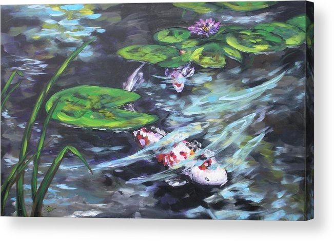 Koi Fish Water Waterscape Lily Pad Pond Reeds Nature Acrylic Print featuring the painting Ripple Rouser by Alan Scott Craig