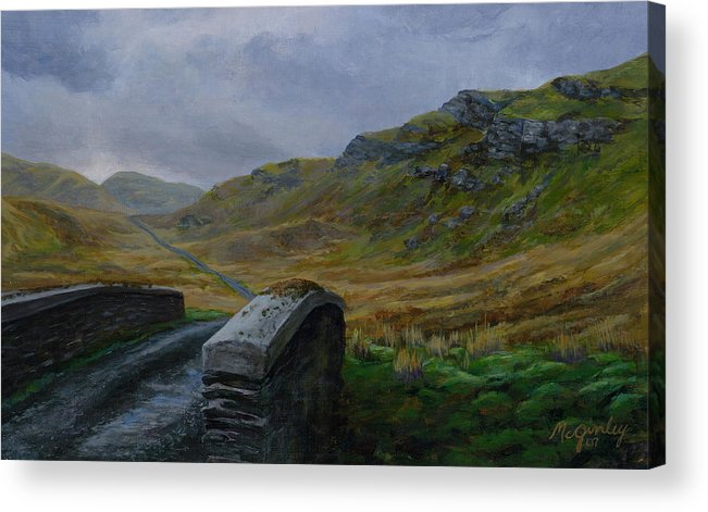 Landscape Acrylic Print featuring the painting Road Over Donegal Bridge by Laurie McGinley