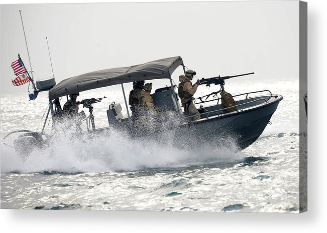 Crew Acrylic Print featuring the photograph Sailors Patrol Kuwait Naval Bases by Stocktrek Images
