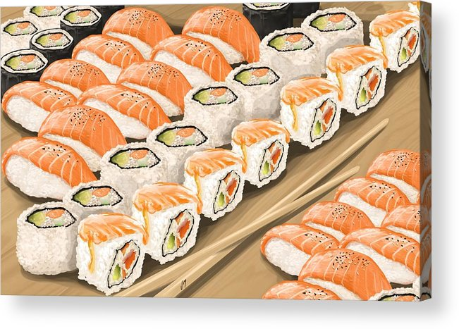 Sushi Acrylic Print featuring the painting Sushi by Veronica Minozzi