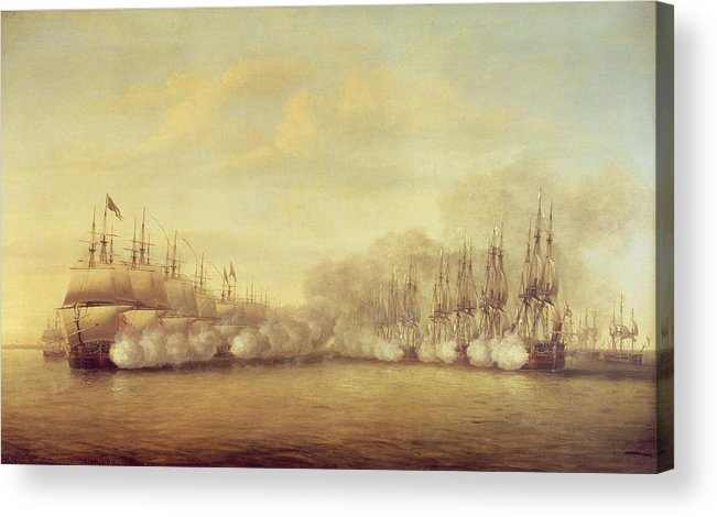 The Acrylic Print featuring the painting The Battle Of Negapatam by Dominic Serres