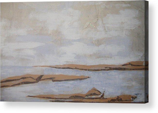 Water Acrylic Print featuring the mixed media The Beach by Helene Champaloux-Saraswati