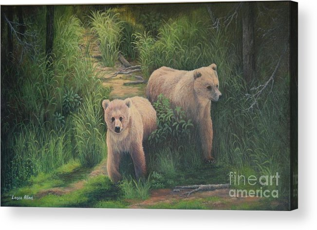 Grizzlies Acrylic Print featuring the painting The Cubs Of Katmai by Lorna Allan