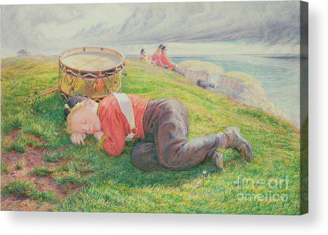 The Acrylic Print featuring the painting The Drummer Boy's Dream by Frederic James Shields