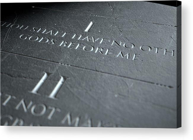 Stone Acrylic Print featuring the digital art The First Commandment by Allan Swart