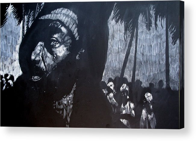 Meet Acrylic Print featuring the mixed media The Meeting by Chester Elmore