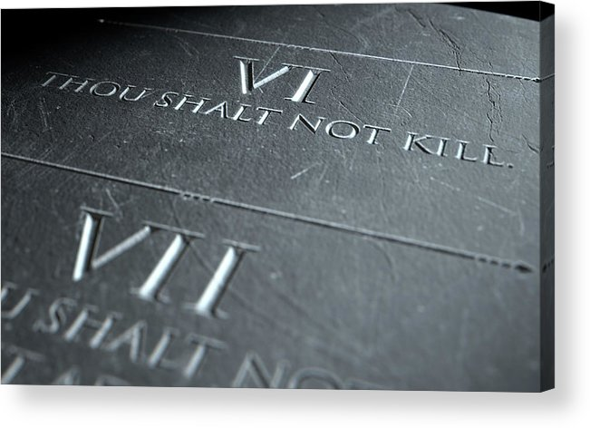 Stone Acrylic Print featuring the digital art The Sixth Commandment by Allan Swart