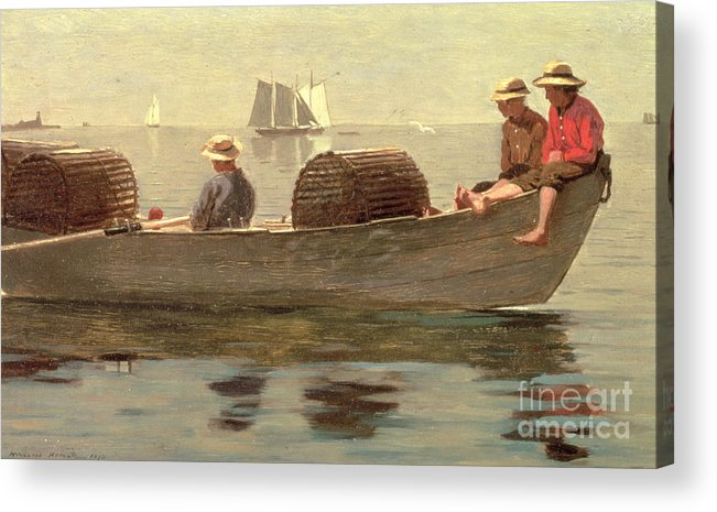 Boat Acrylic Print featuring the painting Three Boys In A Dory by Winslow Homer