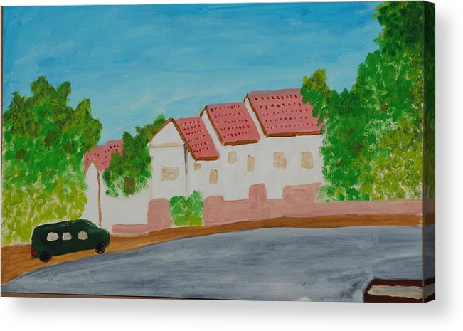 Tile-roof Acrylic Print featuring the painting Three Houses by Harris Gulko
