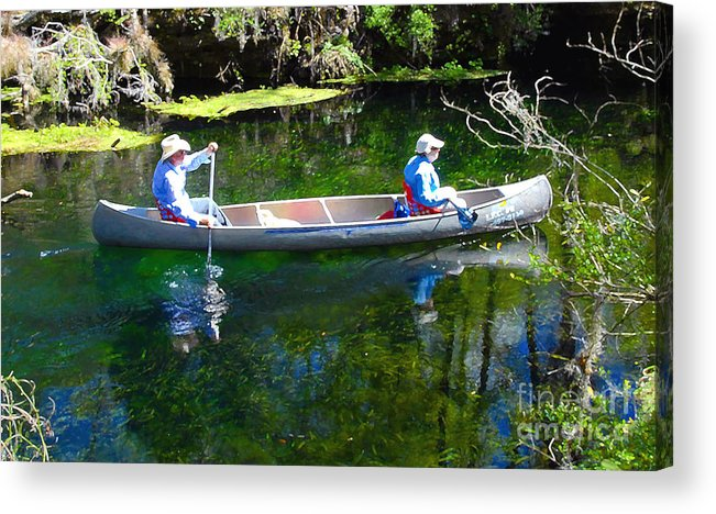 Canoe Acrylic Print featuring the photograph Two In A Canoe by David Lee Thompson