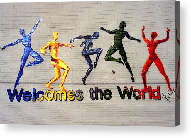 Art Acrylic Print featuring the photograph Welcomes The World Mural by Steve Ohlsen