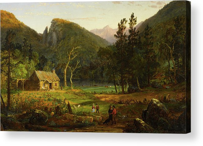 Eagle Cliff Acrylic Print featuring the painting Eagle Cliff, Franconia Notch, New Hampshire by Jasper Francis Cropsey