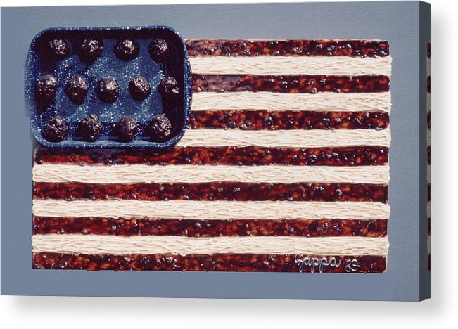 Czappa Acrylic Print featuring the relief Speggetti Flag by Bill Czappa
