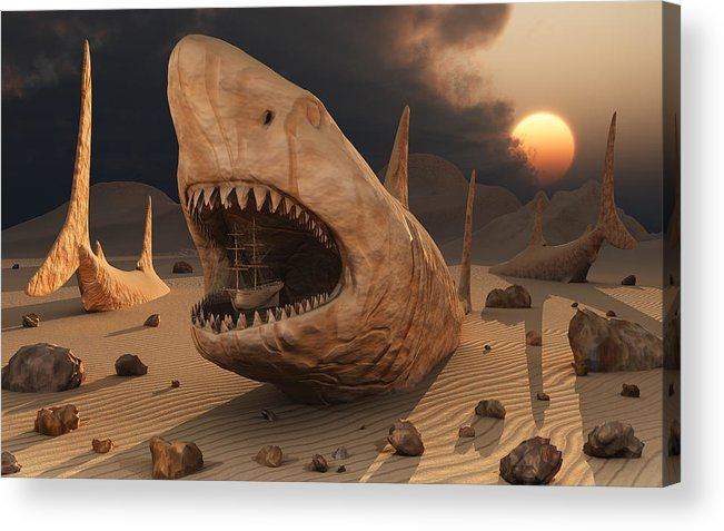 Megalodons Sharks Prehistoric Concept Concepts Conceptual Surreal Surrealistic Desert Fossils Rocks Ship Giants Landscape Sunset Sunrise Swollowing Nature Landscape Imaginary Imaginative Imagination 3d Sculptures Sand Fossilized Acrylic Print featuring the digital art Megalodon Desert by Mark Stevenson