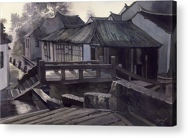 Watercolor Painting Acrylic Print featuring the painting Morning Mist by Alfred Ng