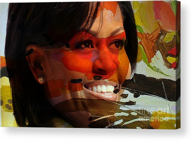 Michelle Obama Photographs Acrylic Print featuring the mixed media Michelle Obama by Marvin Blaine