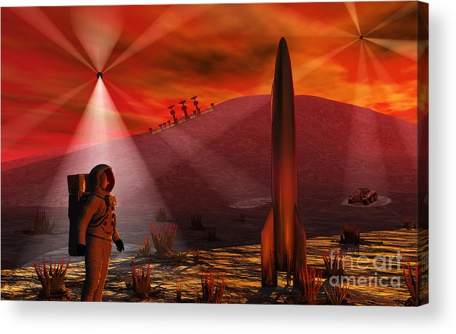 Horizontal Acrylic Print featuring the digital art A Colony Being Established On An Alien by Mark Stevenson