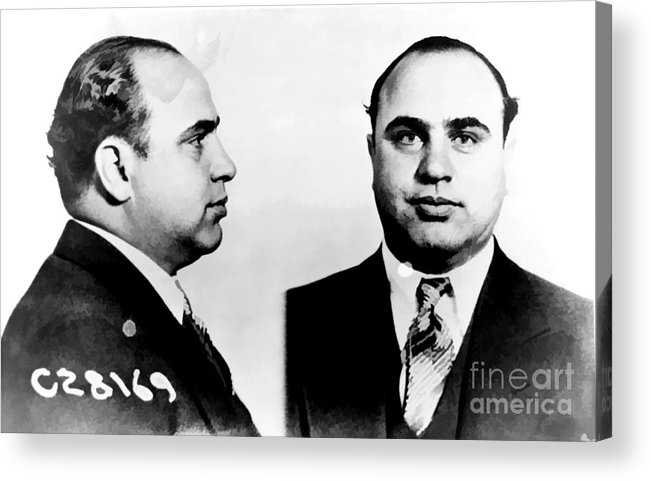 Black Acrylic Print featuring the photograph Al Capone Mug Shot by Edward Fielding