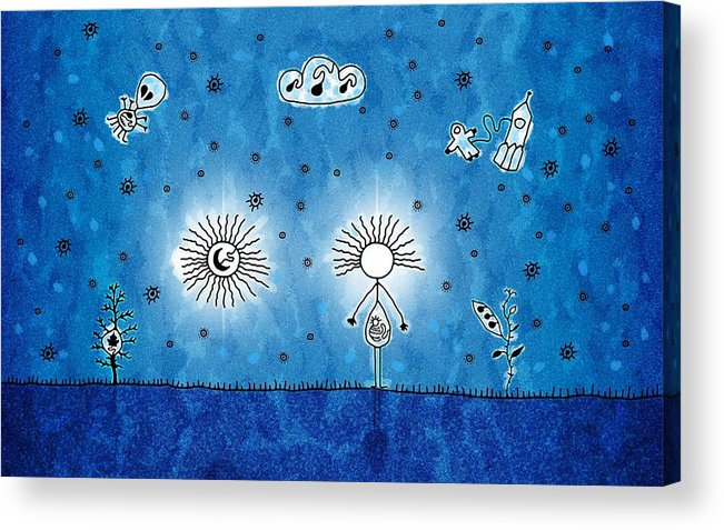 Abstract Acrylic Print featuring the drawing Alien Blue by Gianfranco Weiss