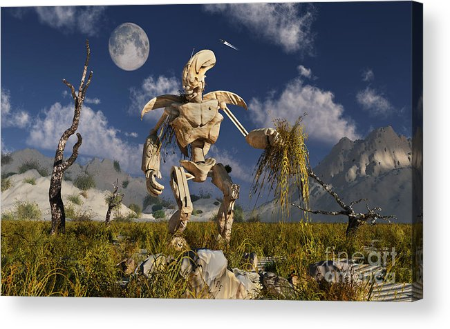 Horizontal Acrylic Print featuring the digital art An Advanced Robot On An Exploration by Stocktrek Images