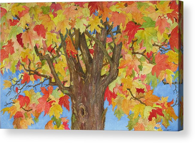Leaves Acrylic Print featuring the painting Autumn Leaves 1 by Mary Ellen Mueller Legault