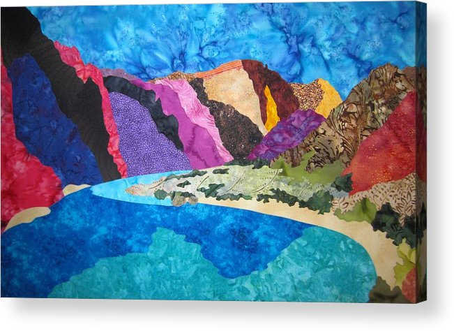 Landscape Acrylic Print featuring the tapestry - textile Boat Beach Near Phantom Ranch by Deb Goepfrich
