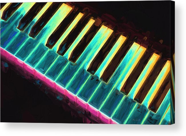 Piano Acrylic Print featuring the painting Colorful Keys by Bob Orsillo