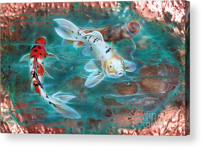 Copper Acrylic Print featuring the painting Copper Koi by Sandi Baker
