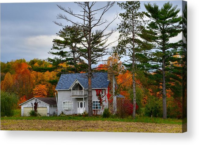 Autumn Scenes Acrylic Print featuring the photograph Country Cottage In Autumn by Julie Dant