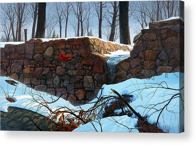 Paintings Acrylic Print featuring the painting Crimson Morning by Tom Wooldridge