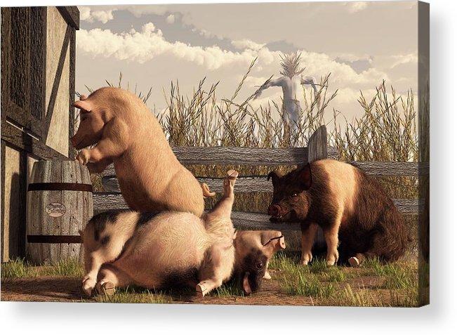 Pig Art Acrylic Print featuring the digital art Drunken Pigs by Daniel Eskridge